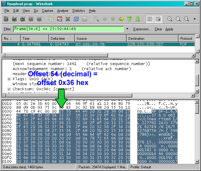 Wireshark trace